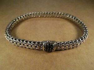 John Hardy Sterling Silver & Sapphire Wheat Mesh L Bracelet, 7.75', 27.2g