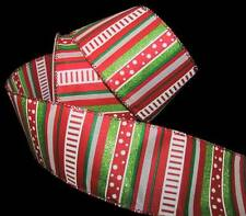 "5 Yds Christmas Red Glitter Green White Stripes Polka Dots Wired Ribbon 2 1/2""W"