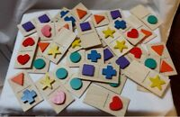 Wooden Dominoes With Shapes. Lillian Vernon Dominos Vintage 80-90s