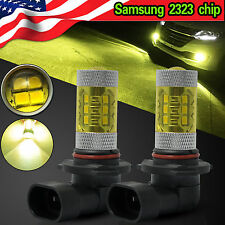 2x 9005 HB3 H10 LED Fog Light 80W Samsung 2323 4300K Yellow Driving DRL Bulbs
