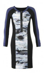 MARC CAIN SPORTS COTTON Blend L/S Jersey Dress, Iceberg Print Panel, N3/10-12