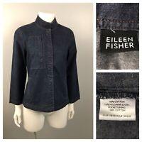 Eileen Fisher Denim Shirt / Blue Cotton Button Up Shirt Three Quarter Sleeve SM