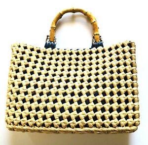 Natural Straw Handbag Bamboo Handle Denim Lined Vintage Purse Beach Bag