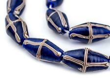 Cobalt Blue Java French Cross Beads 13mm Indonesia Bicone Glass Large Hole