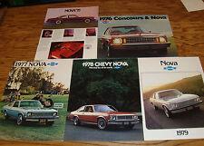 1975 1976 1977 1978 1979 Chevrolet Nova Sales Brochure Lot of 5 75 76 77 78 79