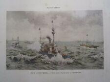 Gravure 19°  Léon Couturier : l'escadre Française à Cherbourg