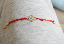 Gold Plated Hamsa Red Bracelet Evil Eye Charm Kabbalah Hand Of Fatima