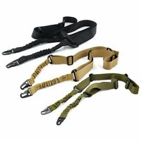 Tactical Two 2 Points Rifle Sling Universal Adjustable Gun Bungee Strap Buclke