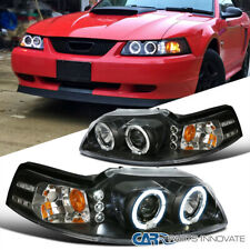 Ford 99 04 Mustang Replacement Black Led Halo Projector Headlights Head Lamps Fits Mustang