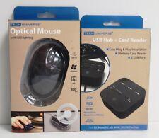 Tech Universe USB Hub Card Reader + Tech Universe Optical Mouse Set New in box