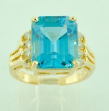 7.99ct 14k Solid Yellow Gold Ladies Emerald Cut Blue Topaz Diamond Ring Cocktail
