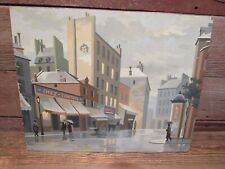 "Vintage Paint By Number 20"" x 16"" DOWNTOWN  SCENE - GREAT CLORS!"