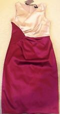 Bnwt * Coast *( Size Uk 10) Raspberry & Blush Diara Satin Dress Evening Party ..