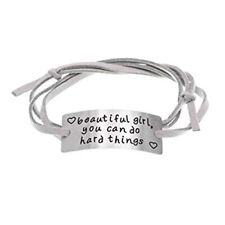 Quote Bracelet Faux Suede Wrap Jewelry Inspirational You Can Do Hard Things