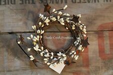 """2"""" Pip Berry Candle Ring with Rusty Stars - IVORY"""