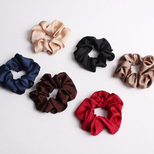 Solid Color Silky Satin Scrunchie Elastic Hair Bands Ponytail Holder Hair Rope