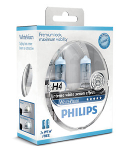 Philips White Vision Xenon Effect - H4 Twin Pack (free set of 501 Bulbs Included