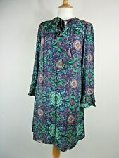 Kachel x Anthropologie Silk Blend Green & Purple Patterned Dress UK Size 10
