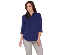 Isaac Mizrahi Live! Woven Utility Blouse With Lace Back Size Plus 18 Cadet Navy