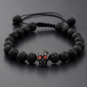 Charm Man's Lava Stone Zircon Black Skull Head Beads Braided Macrame Bracelets