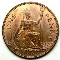 1967, GREAT BRITAIN, ELIZABETH II - ONE PENNY, BRONZE  COIN #1  - KM# 897