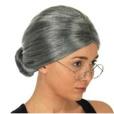 Womens Adult Old Lady Mrs Santa Claus Grey Bun Costume Wig OO