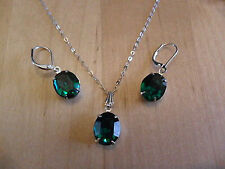 Emerald-Green Crystal Drop Necklace & Earring Set (ideal gift/bridesmaid)