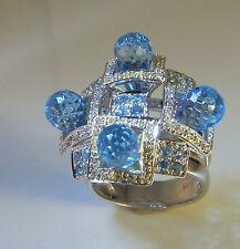 Aquamarine Diamond Topaz 14K Gold Ring Cocktail Modernist Statement Big Large
