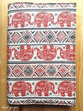 Handmade Red Elephant Printing Fabric Book Cover Book Case With BookMark Ribbon