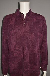 TOMMY BAHAMA NEW $118 Leafing in the Sun Long Sleeve Polo Grape Wine Men's Large