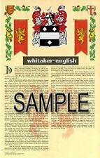 WHITAKER Armorial Name History - Coat of Arms - Family Crest GIFT! 11x17