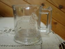 Antique Glass Childs Mug with Sheep Lamb EAPG
