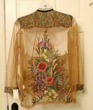 Rare XL NWT Aratta Silent Journey Floral Embroidered Jacket Shirt Sheer Gold