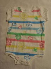 Okie Dokie 0-3 Month Short Sleeve Cotton Bodysuit NWT White Floral Stripe