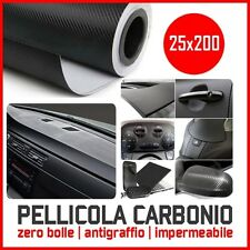 PELLICOLA CARBONIO 3D ADESIVA ADESIVO FOGLIO 25X200 CM CAR WRAPPING AUTO MOTO