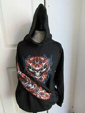 Rare 2006 Jon Lauren Mens Black Fiery Red and Blue Skull Hoodie - M - NEW