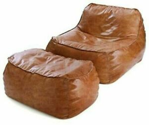 Jumbo Bean Bag Cover Leather Suede with footrest cover Home Decor Luxuries gift