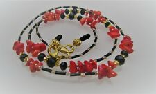 Spectacle Glasses Eyewear Beaded Chain Holder - Red Coral Gemstone & Black Cryst
