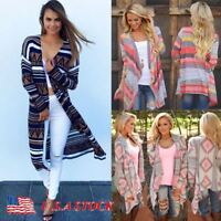 US Women Cardigan Loose Sweater Long Sleeve Knitted Cardigan Outwear Jacket Coat