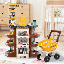 Qaba Kids Supermarket Playset With Shopping Cart and Scanner for 3 to 6 Years