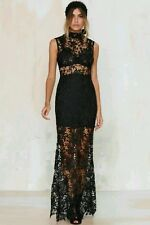 Nasty Gal Lace Up Your Life Maxi Dress sz M Gown Cameo Sheer Crochet Prom Black