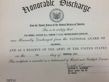 Vintage National Guard California 1955 25137 Department Honorable Discharge