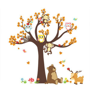 Cartoon Wall Stickers Forest Tree Animal Owl Monkey Bear Baby Kids Room Decor LT