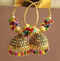 Indian 22k Gold Boho Oxidize Pearl Bollywood Hoop Bridal Jhumka Earring Jewelry