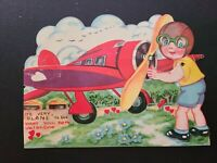 """Vtg 1930s Valentine Greeting Card Diecut Mechanical Boy Big Eyes Plane """"WANT You"""