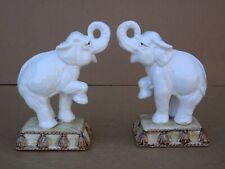 Fitz And Floyd Lucky (Trunk Up) Elephant Bookends On Podium's Ceramic Figurine's
