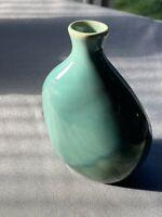 """Green Blue Glazed Ceramic Bud Vase 4.5"""" x 3"""""""