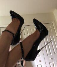 US12 43 42 17cm Sexy high heels patent black strap pumps metal fetish high heels
