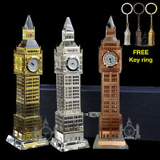 More details for big ben crystal clock changing colour light london souvenir ornament gift glass