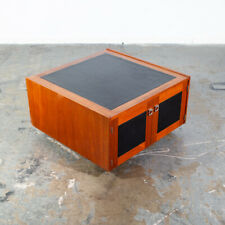 Mid Century Danish Modern Coffee Table Teak Square Black Bornholm Cube Leather